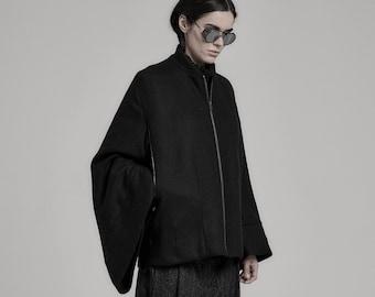 Kimono Black Bomber Jacket / Black Kimono / Womens Jacket / Extravagant Clothing by POWHA