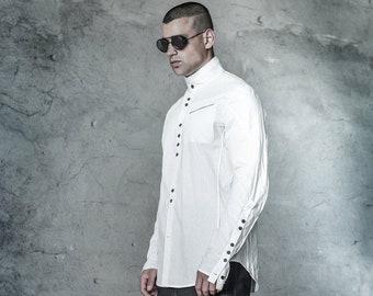 Long Sleeved Mens Shirt | Tailored Shirt | Off White Shirt | Button Down Top | Progressive Wear By POWHA