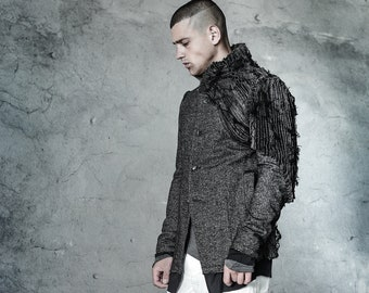 Lamellas Wool Blazer / Contemporary Mens Blazer / Futuristic Jacket/ Urban Blazer/ Extravagant Mens Clothing/ Tailored Jacket by POWHA