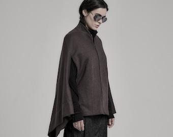 Kimono Muted Brown Bomber Jacket / Brown Kimono / Womens Jacket / Extravagant Clothing by POWHA