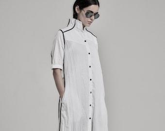 Futuristic White Dress | Long Dress | Minimalist Long Shirt | Wrinkled Shirtdress | Handcrafted Shirt | Progressive Wear by POWHA