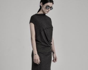 Deconstructed Drape Long Dress / Charcoal Asymmetric Dress / Womens Maxi Dress / Extravagant Clothing by POWHA
