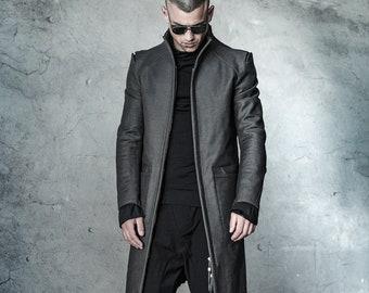 Futuristic Mens Coat / Slim Fit Coat / Cotton Mens Parka / Extravagant Mens Clothing / Tailored Long Jacket by POWHA