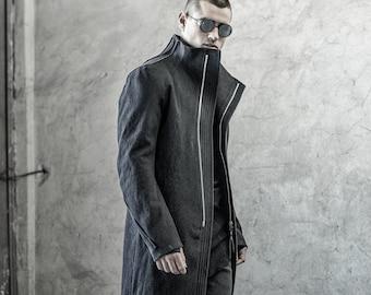 Phantom Charcoal Washed Denim Coat/ Extravagant Mens Clothing / Tailored Long Jacket by POWHA