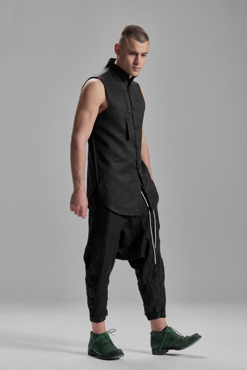 sports shoes 85741 c503b Button Down Herren Shirt / ärmellose Shirt Kohle / Wolle Hemd /  futuristische Kleidung / Kohle städtische Kleidung / Mens modernen Top von  POWHA