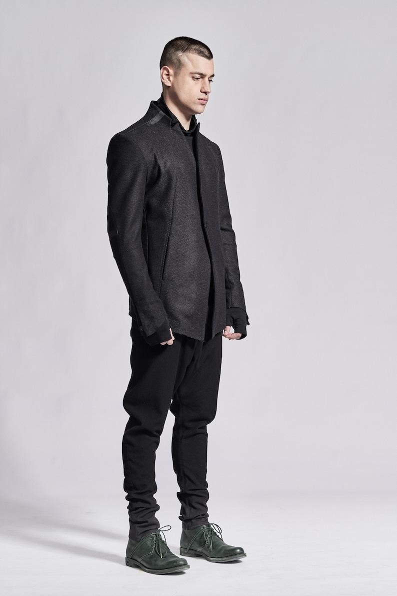Contemporary Mens Blazer/ Charcoal Wool Blazer/ Futuristic Hrtgx1XG