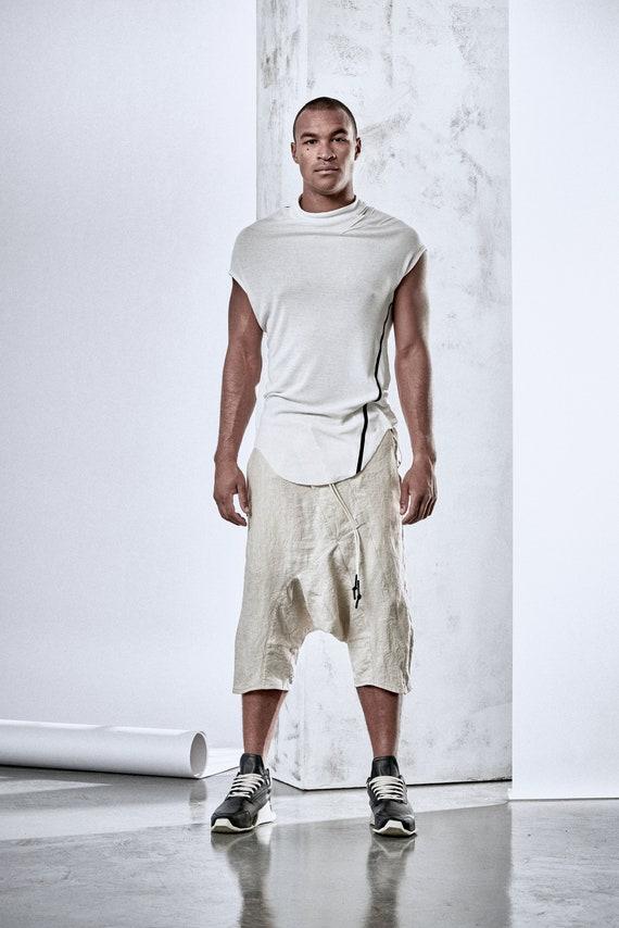 Mens Linnen Shorts Drop Crotch Pants Linnen Lage Kruis Broeken Asymmetrische Herenbroeken Futuristische Kleding van POWHA