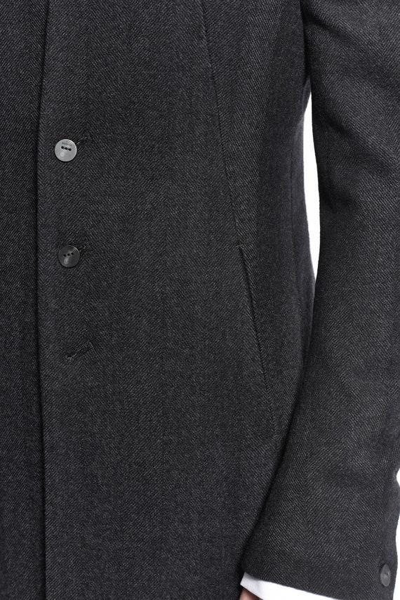 Wollmantel Bekleidung Powha Schlanke Passform Mantel Von Futuristische Herren Zugeschnitten Kragenlose Extravagante OnXP80wk