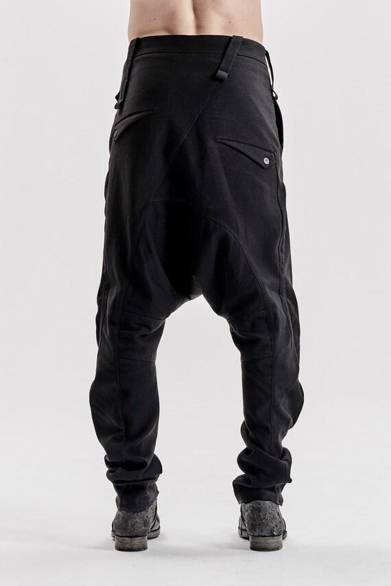 Black Wool Pants Mens Drop Crotch Black Trousers Minimalist Harem Trousers Wool Low Crotch Pants Black Extravagant Pants by POWHA