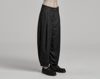 Deviation Charcoal Wool Trouser | Womens Wool Trousers | Low Crotch Pants | Contemporary Wear by POWHA