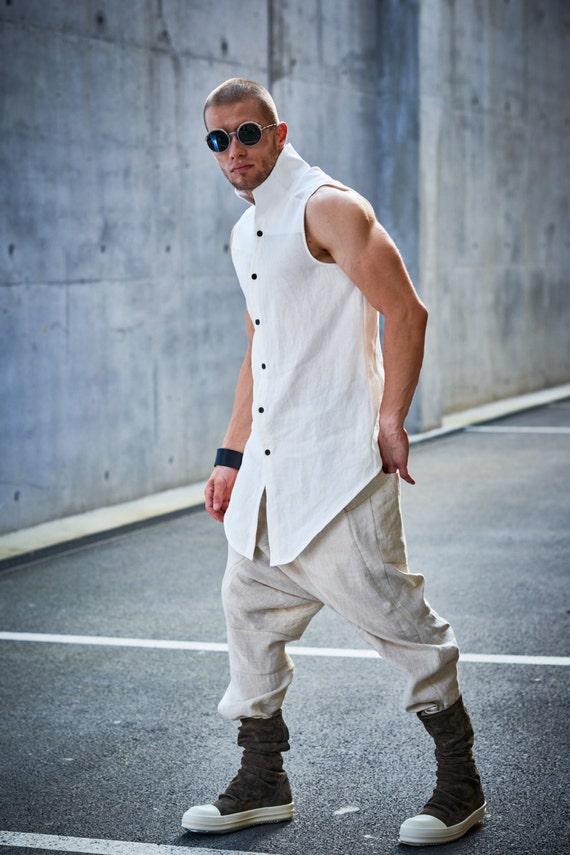 Linnen bijgesneden broekdrop Kruis broeklinnen lage kruis broekextravagante mens broekfuturistische kleding door POWHA