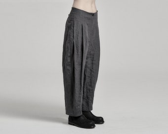 Deviation Muted Blue Linen Trouser | Womens Boiled Linen Trousers | Low Crotch Pants | Contemporary Wear by POWHA