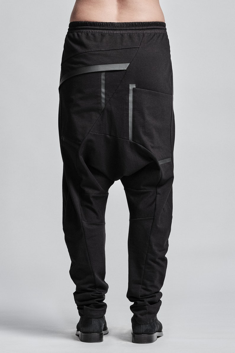 Cotton Trousers Avantgarde Pants J Shaped Urban Black Trousers Drop Crotch Pants with Elastic Waistband Contemporary Wear by Powha