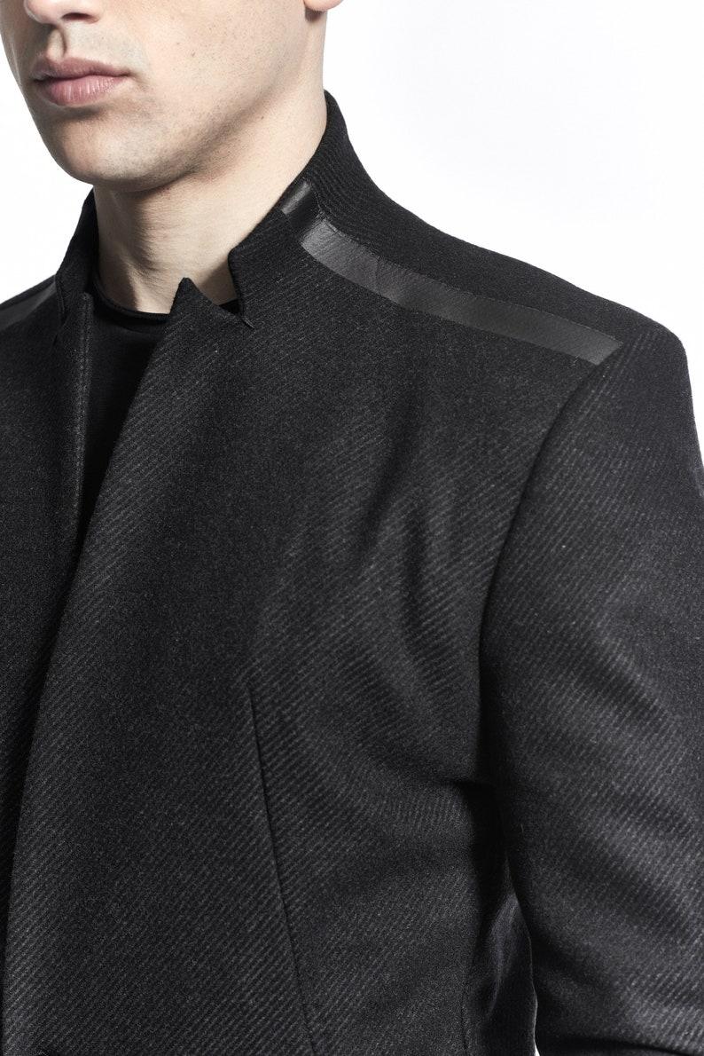 Contemporary Mens Blazer/ Charcoal Wool Blazer/ Futuristic i1OgKy2n