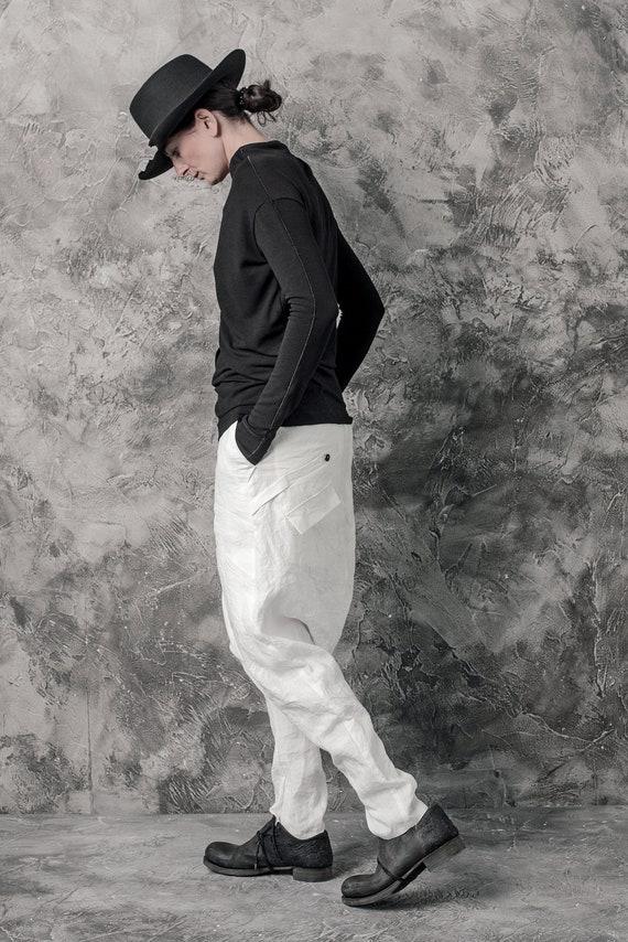 Drop Kruis broek | Gekookte linnen broek | Uit witte broek | Linnen broek | Stedelijke broek | Hedendaagse slijtage door Powha