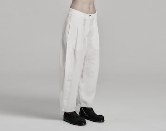 Deviation Off White Linen Trouser | Womens Boiled Linen Trousers | Low Crotch Pants | Contemporary Wear by POWHA