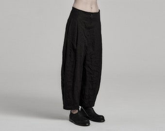 Deviation Black Linen Trouser | Womens Boiled Linen Trousers | Low Crotch Pants | Contemporary Wear by POWHA