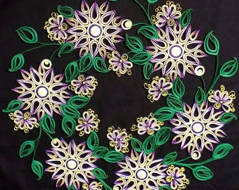 Purple and White Quilled Flower Wreath