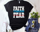 Faith Conquers Fear Short-Sleeve T-Shirt , faith over fear , Jesus shirt, Christian t-Shirts, Christian Shirt, christian, blessed shirt