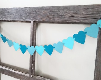 Heart Garland - Blue Ombre