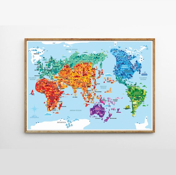 Wonder world a2 b2 illustrated world map kids room kids etsy image 0 gumiabroncs Image collections