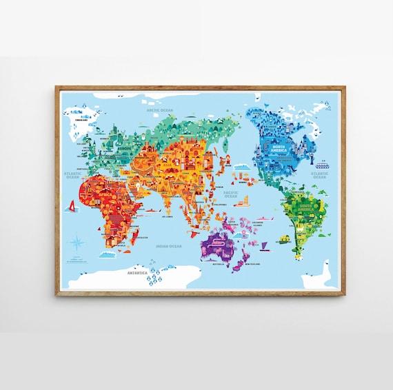 Wonder World A2 B2 illustrated world map kids room kids | Etsy