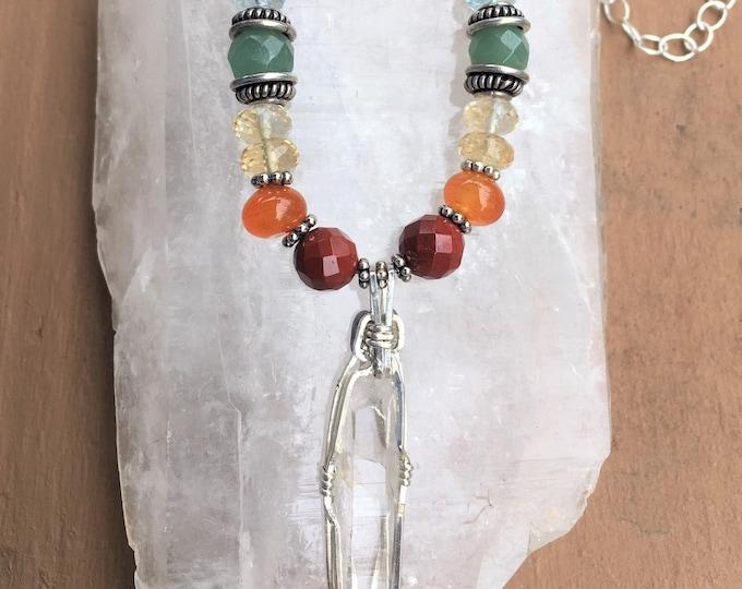 Full Chakra Rainbow necklace with Quartz Crystal pendant, Gemstones, Chakra Balancing, Metaphysical, Sedona Jewelry, Charged