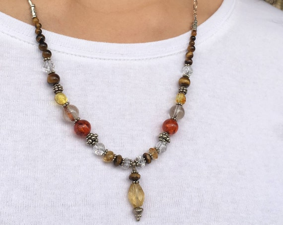 PERSONAL POWER, Chakra Balancing, Naval Chakra, Sedona charged with Citrine Pendant, Bali Silver, Healing Jewelry, Metaphysical, Crystal