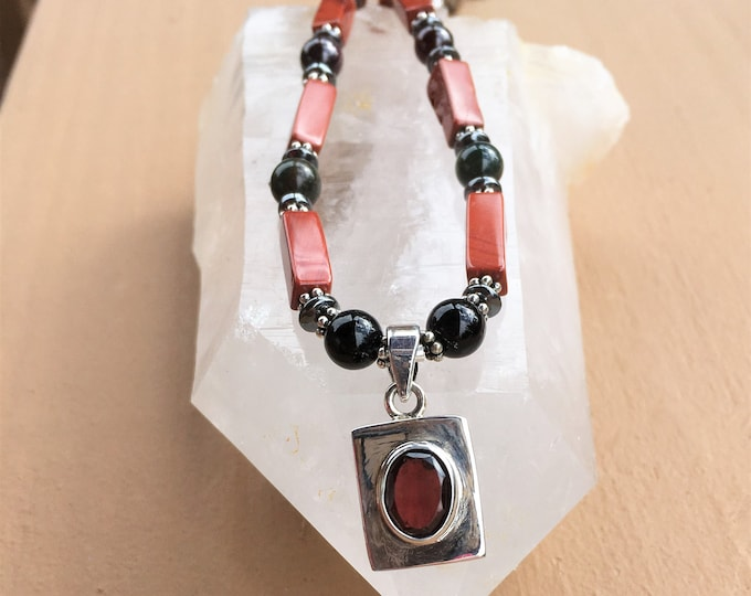 Grounding and Centering, Garnet and Silver pendant, Root (1st) Chakra balancing, Metaphysical Yoga Sedona & Reiki Jewelry, Power necklace