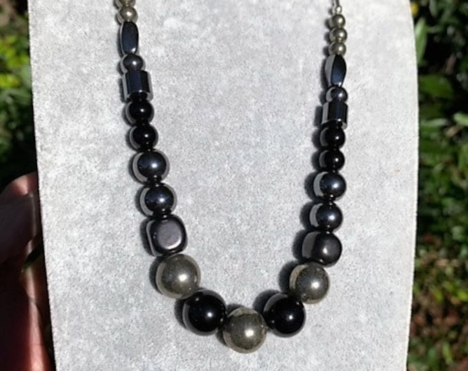 EMF PROTECTION and GROUNDING Necklace, Metaphysical design for Repelling Negativity Anxiety, Shungite, Pyrite, Black Tourmaline