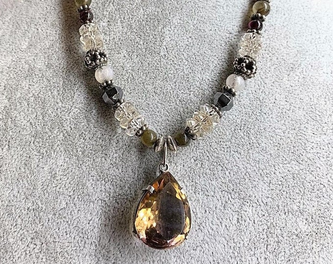 One with the Goddess, FACETED AMETRINE pendant Crown Chakra Balance 7th Sedona Charged, Metaphysical Healing Jewelry with Daily Affirmation