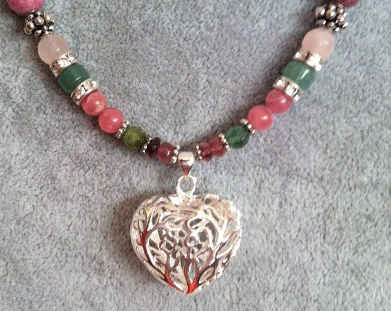 Open Heart necklace with Sterling Silver filagree heart pendant, Chakra Balancing, Sedona and Reiki Charged, Healing, Metaphysical Jewelry