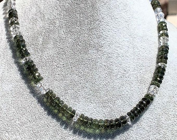 RARE GENUINE MOLDAVITE necklace, Faceted Manifestation Moldavite, Sedona Charged, Metaphysical Healing Jewelry Manifesting Transformation