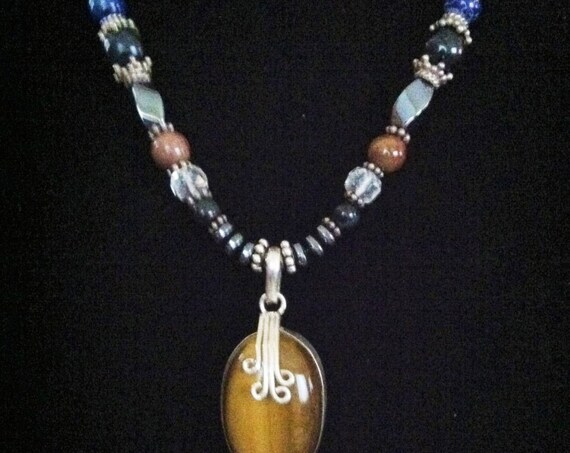 Ancient Wisdom with Tiger-eye Pendant with Red Jasper & Lapis  Sterling Silver, Sedona and Reiki Charged Knowledge necklace, Understanding