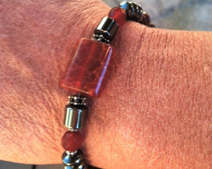 Grounding and Centering Mens Bracelet FIRE AGATE, Chakra balancing, Sedona, Metaphysical Healing Jewelry, Charged, Power necklace