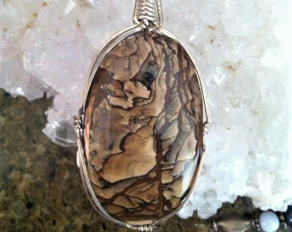 ANCIENT EARTH SHAMAN Necklace with Picture Jasper pendant