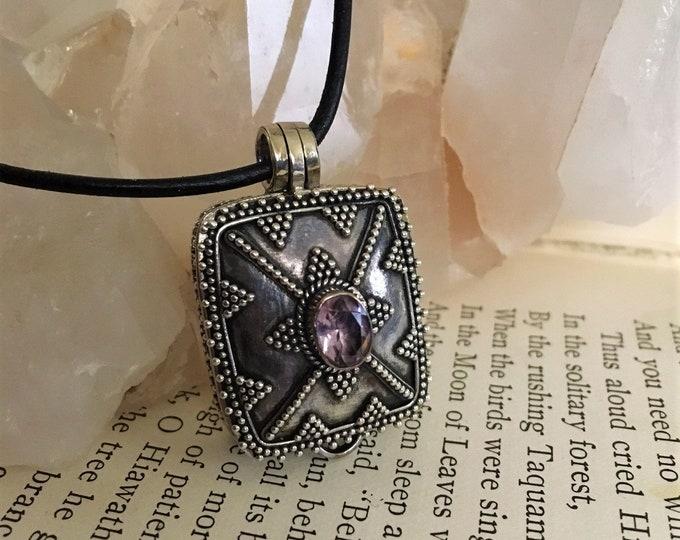 AMETHYST LOCKET STERLING Silver, Crown Chakra balance Metaphysical Sedona & Reiki for Wisdom, Higher learning, Psychic Enhancement Calming