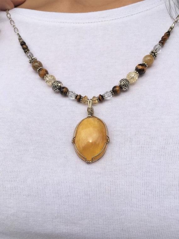 PERSONAL POWER, Chakra Balancing, 3rd Chakra, Sedona charged with Custard Amber Pendant, Bali Silver, Healing Jewelry, Metaphysical, Crystal