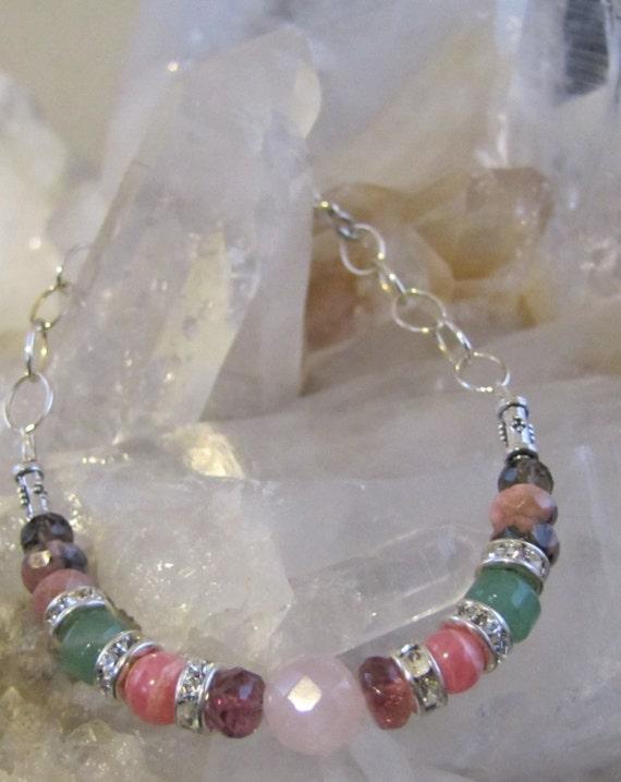 Open Heart Bracelet, Heart Chakra, Chakra Balancing, Sedona Charged, Swarovski Crystal spacers, Sterling Silver Chain