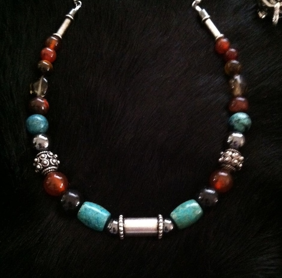 PROTECTORS, Masculine necklace, charged at the Airport Mesa Vortex in Sedona, Reiki charged, Cleansed, Wicca, Silver, gemstones and leather
