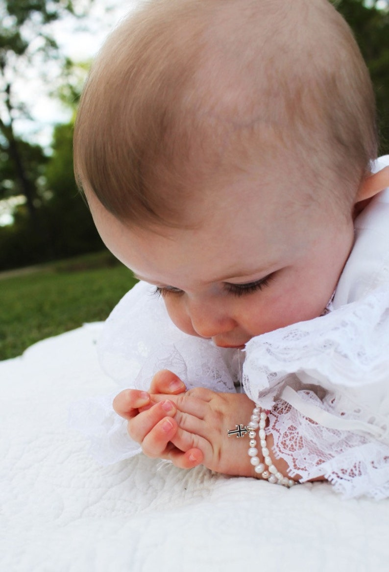 Seed Pearl and Pink Tourmaline Bracelet Baby Christening image 0