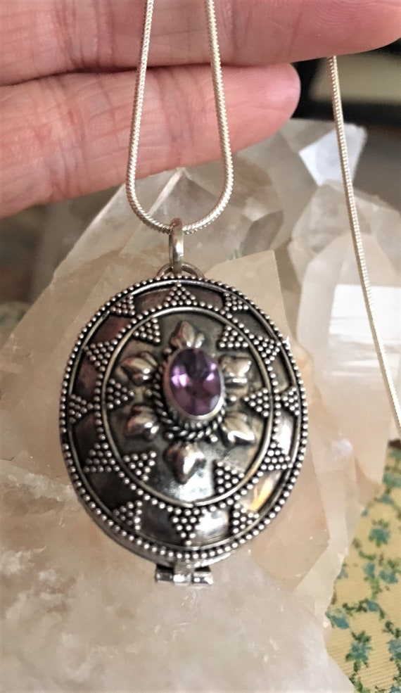 AMETHYST LOCKET STERLING Silver, Crown Chakra balance Metaphysical Sedona & Reiki for Wisdom, Higher learning, Psychic Enhancement Calming