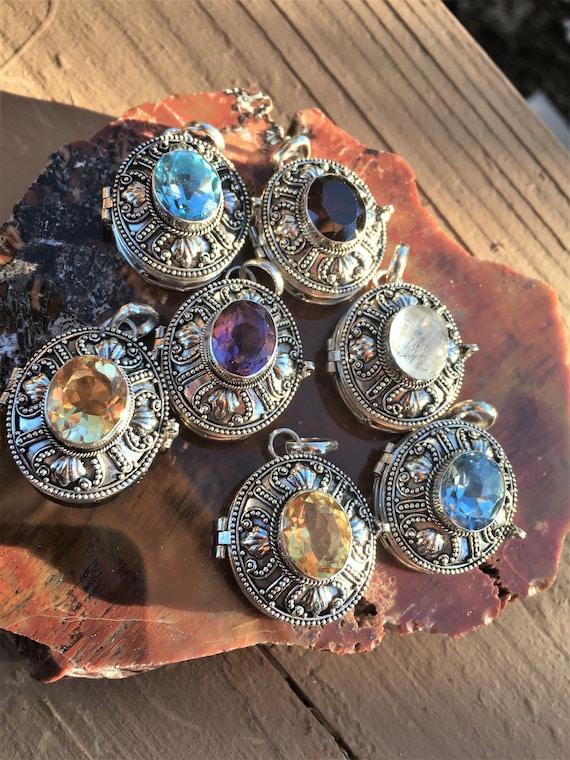 STERLING SILVER LOCKETS Amethyst, Citrine, Blue Topaz, Garnet, Moonstone Lockets for Chakra balance, Metaphysical Sedona & Reiki Charged
