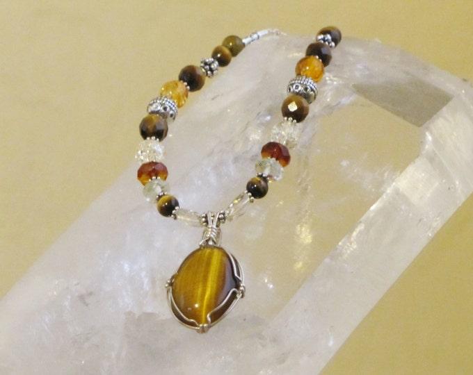 Personal Power necklace with Tigereye pendant, Sedona Vortex charged, Sacral Chakra,Chakra Balance necklace,  November, Gemini ,Healing