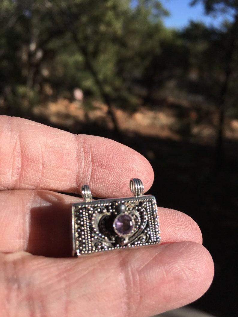 AMETHYST LOCKET STERLING Silver Crown Chakra balance image 0