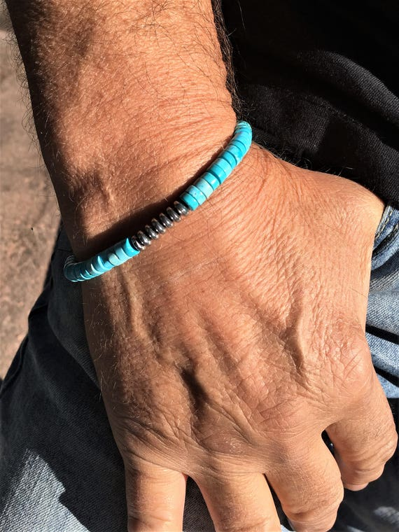 Men or Women TURQUOISE and HEMATITE Power Wisdom and Grounding Chakra BRACELET Sedona & Reiki Charged Bracelet Metaphysical Healing Jewelry