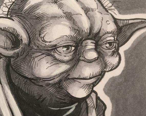 Empire Strikes Back Black and White Artist Return: Yoda