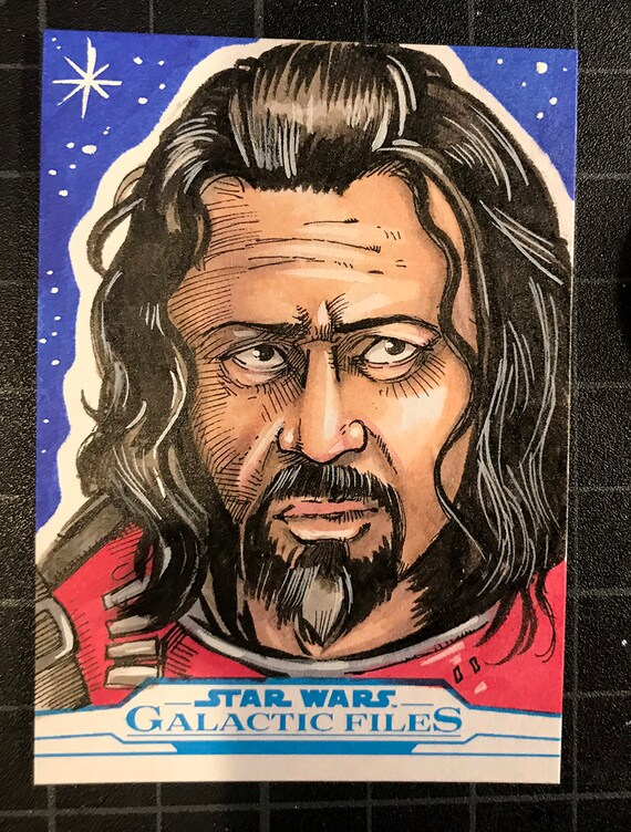 Star Wars Galactic Files Artist Return Sketch Card- Baze Malbus
