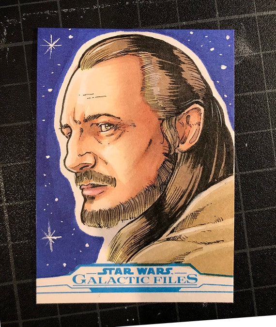 Star Wars Galactic Files Artist Return Sketch Card- Qui-Gon Jinn