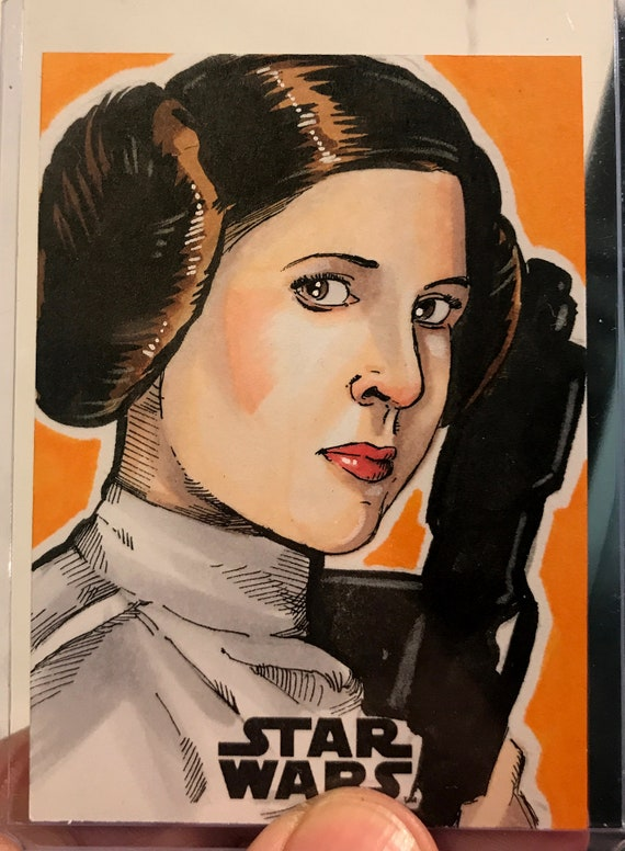 Star Wars Galaxy 2018 Artist Return Sketch Card- Princess Leia